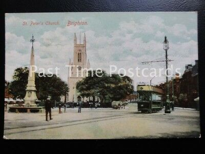 £5 • Buy East Sussex BRIGHTON St Peters Church Showing Tram & Water Fountain C1906