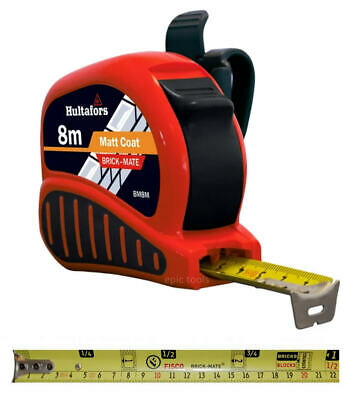 Hultafors Fisco 8m Brick Mate Metric Builders Block Counting Tape Measure, BM8M • 19.95£