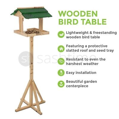 Traditional Wooden Bird Table Green Roofed Free Standing Bird Feeding Station UK • 14.95£
