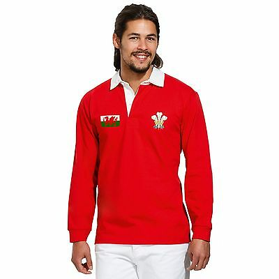 Wales Rugby Vintage Polo Shirt Cymru World Cup Nations Retro Jersey Kit Match • 24.95£
