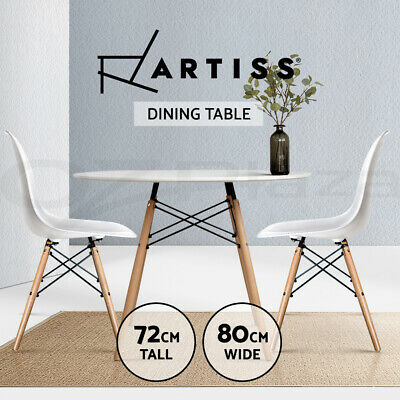 AU73.95 • Buy Artiss Dining Table Round Replica DSW Eiffel Cafe Kitchen Wood White 80cm