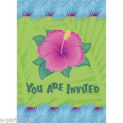 HAWAIIAN LUAU Tropical Bloom INVITATIONS (8) ~ Birthday Party Supplies Card Note • 1.62£