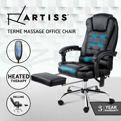 AU206.95 • Buy Artiss 8 Point Massage Office Chair Heated Reclining Gaming Chairs Black