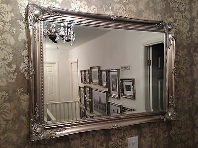 X LARGE Antique Silver Shabby Chic Ornate Decorative Wall Mirror SAVE ££s • 99.99£