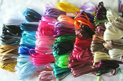 3mm DOUBLE FACED SATIN RIBBON  10m Or 20m Length Lots Of Colours Thin Narrow • 1.20£