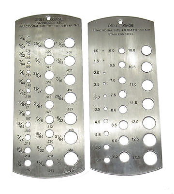 £8.50 • Buy Rdgtools 2pc Drill Gauge Stainless Steel Metric Imperial Measuring Drill Sizes