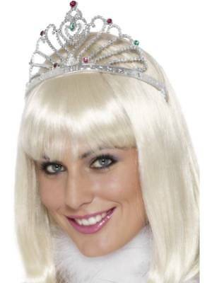 Silver Tiara Fan Design Plastic Ladies Fancy Dress Accessory Princess Queen • 1.99£