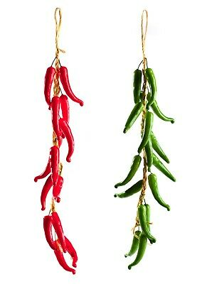 Best Artificial 60cm Chilli Peppers Hanging String Home Decor Vegetable Fruit • 5.99£