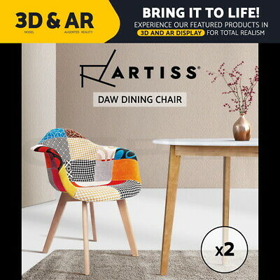 AU195.90 • Buy Artiss Dining Chairs Retro Replica DAW Fabric Chair Dining Chairs Cafe X2