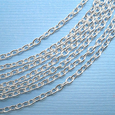 £5.40 • Buy 10 Metres Silver Plated Trace Cable Chain 3 X 2mm Jewellery Making