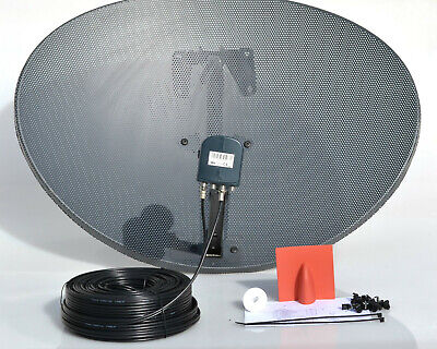 Zone 2 Satellite Dish For Sky + Freesat & MK4 Octo Lnb, 50M Black Twin Cable Kit • 52.99£