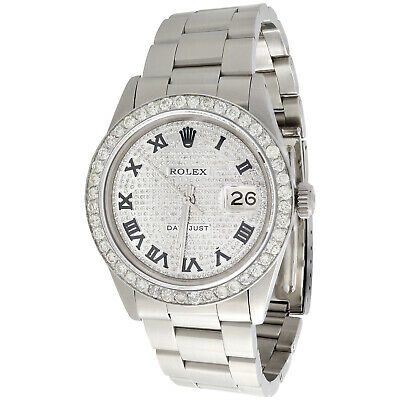 $ CDN10143.26 • Buy Mens Rolex Datejust 36mm Roman # Diamond Dial Watch Oyster Stainless Steel 4 CT.