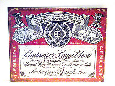 $ CDN7.73 • Buy Budweiser Label, Metal Sign Factory Antiqued, Unisex, Adult (apo&fpo Buyer Ok)