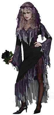 Zombie Bride Gothic Skeleton Ghost Dead Fancy Dress Up Halloween Adult Costume • 36.56£