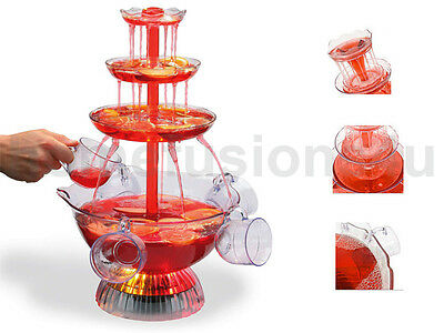 £223.89 • Buy Cocktail Fountain Illuminated Electric 6 Cup Punch Bowl Waterfall Drinks Party