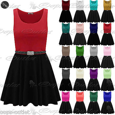 £4.95 • Buy Ladies Belted Sleeveless Office Flared Franki Club Party Womens Skater Dress Top