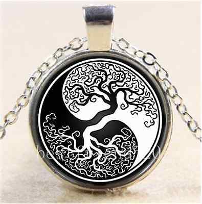 AU2.79 • Buy Ying Yang Tree Of Life Cabochon Glass Tibet Silver Chain Pendant Necklace