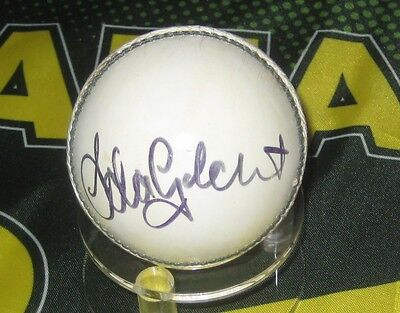 AU199 • Buy Adam Gilchrist (Australia) Signed White Cricket Ball + COA & Photo Proof