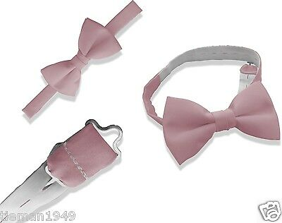 Italian Satin Baby Pink Mens Dickie Bow Tie Hand Made In UK (Adjustable Band) • 4.99£