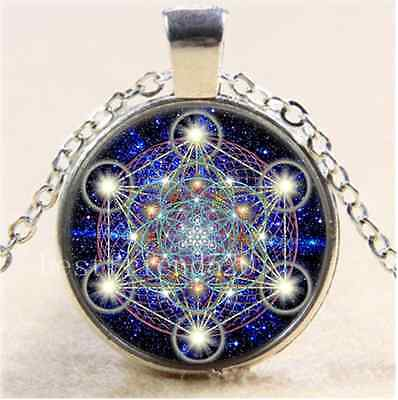 £1.85 • Buy Sacred Geometry Photo Cabochon Glass Tibet Silver Chain Pendant Necklace
