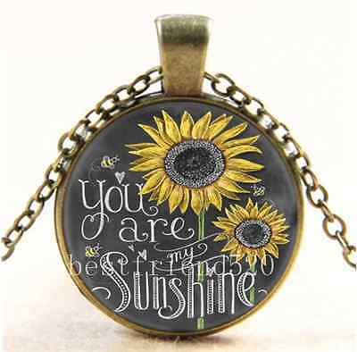 AU2.79 • Buy Vintage Sunflower You Are My Sunshine Glass Bronze Chain Pendant Necklace