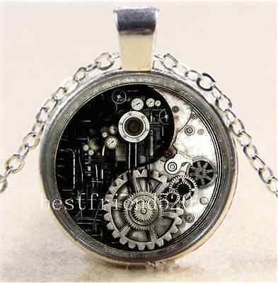 AU2.79 • Buy Steampunk Ying Yang Cabochon Glass Tibet Silver Chain Pendant Necklace