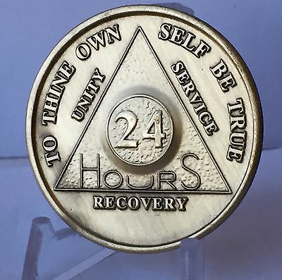 $1.70 • Buy 24 Hours AA Medallion Bronze Alcoholics Anonymous Sobriety Chip Coin