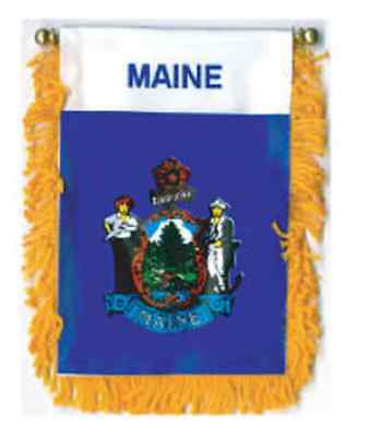 $3.50 • Buy MAINE MINI BANNER FLAG 4 X 6  With BRASS STAFF & SUCTION CUP  - NEW