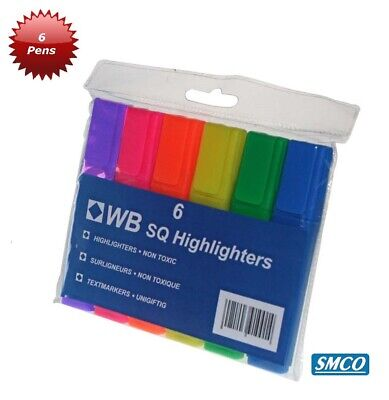 6 HIGHLIGHTER PENS Neon Markers ASSORTED COLOURS School Home Office WB QUALITY • 2.75£