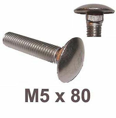 £2.79 • Buy M5 X 80 Carriage Bolts (Cup Square) 5mm X 80mm Stainless Steel Coach Bolts X5