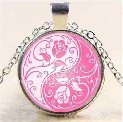 AU2.79 • Buy Yin Yang Roses Photo Cabochon Glass Tibet Silver Chain Pendant  Necklace