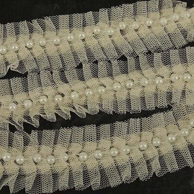1m X Cream Lace And Pearl Beaded Trim Ribbon Wedding Bridal  Vintage Inspired  • 2.50£