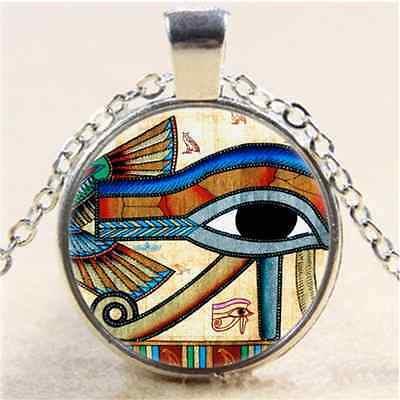 £1.55 • Buy Egyptian EYE OF HORUS Cabochon Glass Tibet Silver Chain Pendant  Necklace