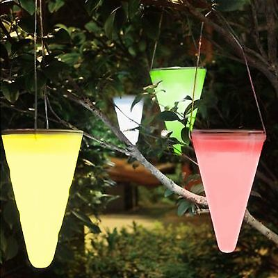 Set Of 3 Colour Changing Solar Outdoor Garden Hanging Tree Cornet Cone Lights • 12.95£