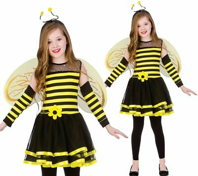 Girls Cute Bumble Bee Costume Insect Animal Kids Fancy Dress Outfit Ages 5-13 • 10.99£