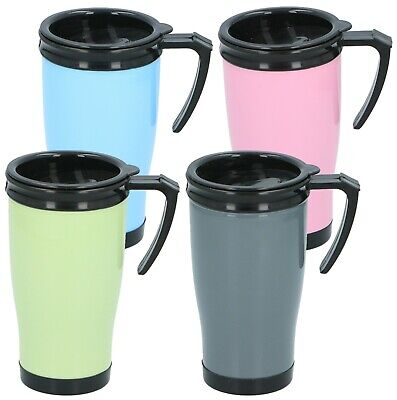 £5.49 • Buy Insulated Double Wall Non Spill Travel Mug With Lid Easy Grip Coffee Tea Hot Cup