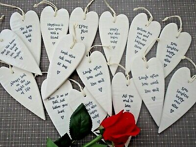 Stunning Gift Hanging Quote Porcelain Heart Friends Love Wedding Believe Prosecc • 5.49£