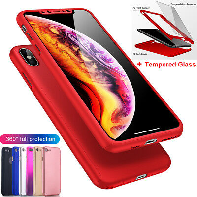 AU7.75 • Buy IPhone X 7 6s Plus XS Max XR Case 360 Shockproof Slim Hard Cover +Tempered Glass