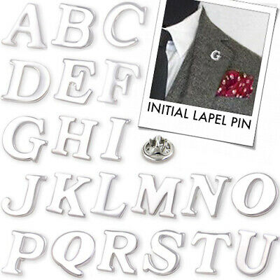 £1.50 • Buy INITIAL LAPEL PIN Alphabet Letter Name Coat Collar Suit Metal Brooch Party Gift
