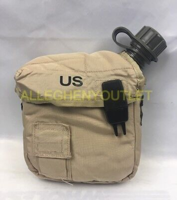 $ CDN8.44 • Buy US Military 2 QT Collapsible Water Canteen + Desert Tan Cover Pouch VGC