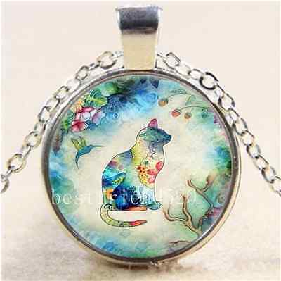 £1.74 • Buy Garden Cat And Bird Cabochon Glass Tibet Silver Chain Pendant Necklace