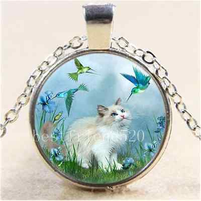 £1.85 • Buy Cat With Hummingbird Cabochon Glass Tibet Silver Chain Pendant Necklace
