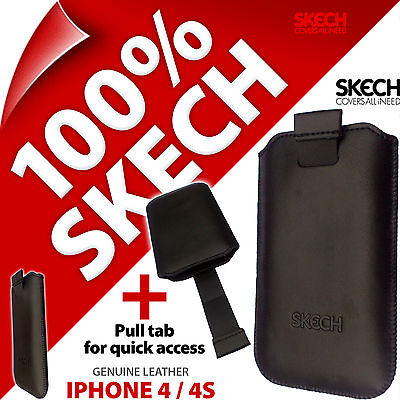 £3.97 • Buy Skech Strap Pouch Pull Tab GENUINE LEATHER Case Cover For Apple IPhone 4 / 4S