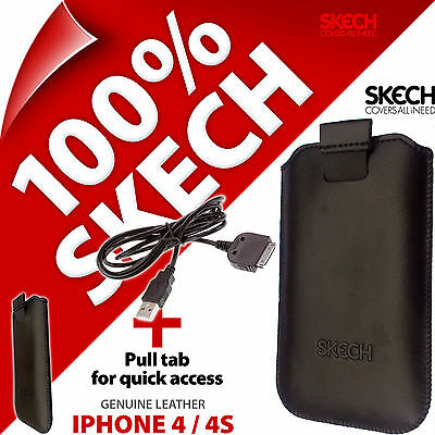 £5.97 • Buy Skech Pouch Pull Tab GENUINE LEATHER Case For IPhone 4 4S + USB Charging Cable