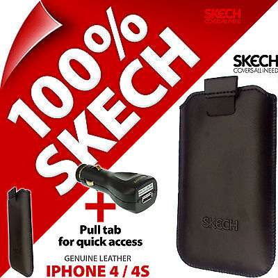 £4.97 • Buy Skech Pouch Pull Tab GENUINE LEATHER Case For IPhone 4 / 4S + USB Car Charger
