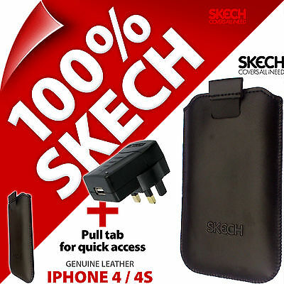 £5.97 • Buy Skech Pouch Pull Tab GENUINE LEATHER Case For IPhone 3GS 4 4S +USB Mains Charger