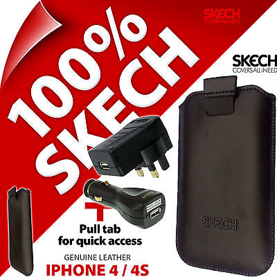 £6.97 • Buy Skech Pouch Pull Tab GENUINE LEATHER Case For IPhone 4S + USB Car +Mains Charger