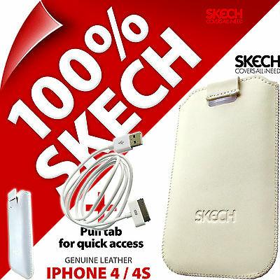 £3.97 • Buy Skech Pouch Pull Tab GENUINE LEATHER Case For IPhone 4 4S + USB Charging Cable