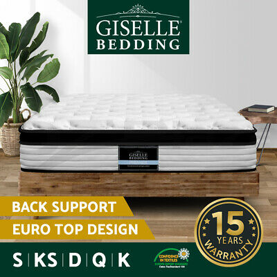 AU249 • Buy Giselle Mattress QUEEN DOUBLE KING SINGLE Bed Euro Top Spring Foam Medium Firm
