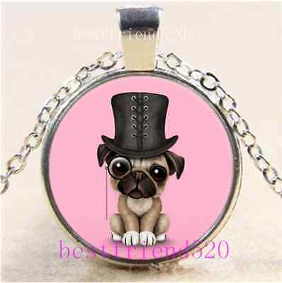 £1.82 • Buy Cute Pug Puppy Photo Cabochon Glass Tibet Silver Chain Pendant Necklace